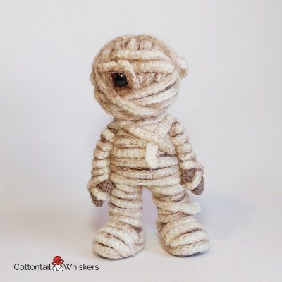 Amigurumi Crochet Mummy Doll Pattern by Cottontail and Whiskers