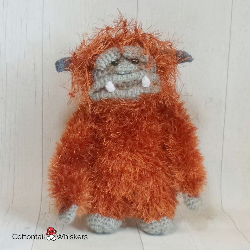 Amigurumi fluffy monster ludo crochet pattern by cottontail and whiskers