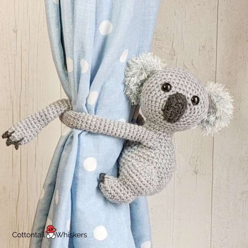 Curtain ties amigurumi crochet koala bear pattern by cottontail and whiskers